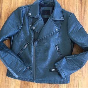 Zara Trafaluc forest green faux leather jacket